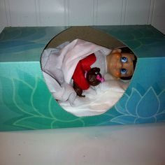 elf sleeping in kleenex box. oh my god. why is this so effing cute?! #elfontheshelf elf on the shelf
