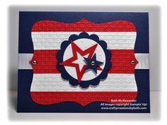 Happy of July! red white and blue . top note die cut with wide red and white stripes . filled star in centered center focal point . luv the bright look on a navy card base . Happy 4 Of July, Fourth Of July, Independence Day Card, American Card, Military Cards, Punch Art Cards, Some Cards, Creative Memories, Card Sketches