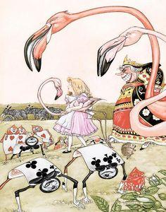 La mayor dificultad para Alicia fue controlar a su flamenco.