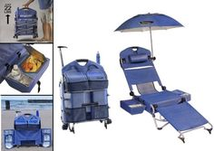 """The """"LoungePac"""" Beach Chair has attached coolers with cup holders, umbrella with mount, tote bag, pillow and storage compartment. Detachable thermal coolers with cup holders have a special feature which can accommodate wine bottles. Coolers can hold 6 cans of soda and/or 2 bottles of wine. 4 Ft diameter umbrella. . Lounger easily converts to a chair by removing the leg support.  Large storage compartment under the seat can hold towels, blankets, books, magazines."""