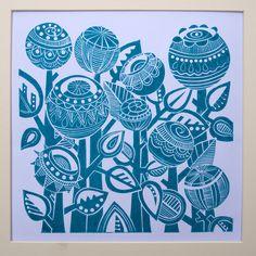 Turquoise Garden Lino Print by JoolsYasities on Etsy