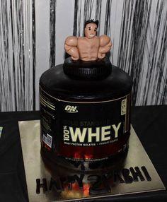 21st birthday cake. Protein powder tub cake.