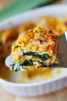 Spinach, ricotta, and butternut squash lasagna.