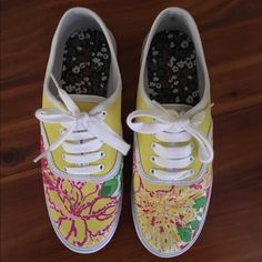 Lilly Pulitzer Painted Sneakers These are hand painted Lilly Pulitzer inspired shoes. They are the target brand that looks similar to vans. They have never been worn. Target/Lilly Pulitzer Shoes Sneakers
