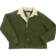 L.l. Bean Men's Corduroy Jacket Barn Style Large Reg Olive Green... ❤ liked on Polyvore featuring men's fashion, men's clothing, men's outerwear, men's jackets, mens green military jacket, mens olive green jacket, mens long jacket, mens jackets and mens short sleeve jacket