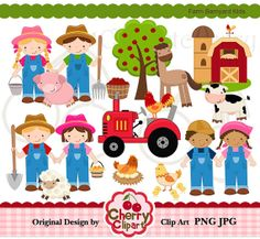 Farm Barnyard Kids Digital Clipart Set for-Personal and Commercial Use-Card Design, Scrapbooking, and Web Design