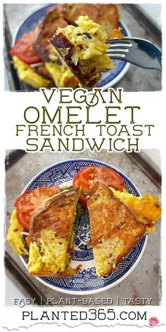 This Vegan Omelet French Toast Sandwich is perfection. It's a puffy cloud of Just Egg cooked with peppers, potatoes, onions, and cradled in two pieces of French toast. Seriously, this is delicious. It takes less than 20 minutes and is easy to make. Chef Recipes, Dairy Free Recipes, Dinner Recipes, Breakfast Recipes, Gluten Free, Delicious Vegan Recipes, Healthy Recipes, French Toast Sandwich, Vegan Dishes