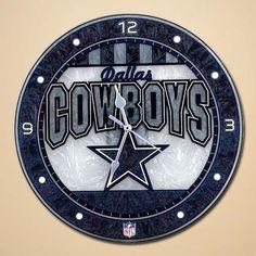 "Dallas Cowboys 12"" Art Glass Wall Clock"