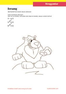 lembar aktivitas langkah/petunjuk menggambar beruang untuk anak SD