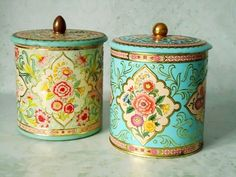 Vintage Floral Tin Storage Canisters - Vintage Canisters - Pair of Vintage Kitchen Tins. $31.00, via Etsy.