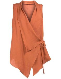 Laced ramie vest in Orange designed by Isolde Roth to find in Category Jackets a… - moda Boho Fashion, Fashion Dresses, Womens Fashion, Fashion Design, Fashion 2017, Fashion Boots, Fashion Trends, Sewing Blouses, Elegantes Outfit