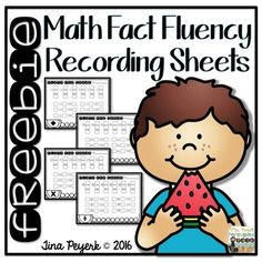 Math Fact Fluency Recording Sheets for addition, subtraction, multiplication and division FREEBIE!