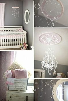 Shabby Chic Nursery in Gray and Pink. Sweet dreams ceiling medallion by Www.mariericci.com