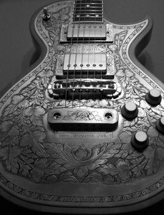 "treasures-and-beauty: "" Zematis Generation 2 Metal Front Guitar in Black with engravings by Danny O'Brien """