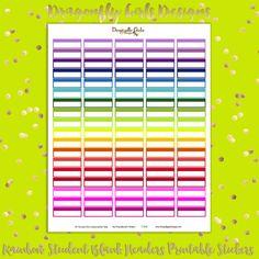 DIY Rainbow Blank Headers Student Arrows 100 Printable Planner Stickers pdf Erin Condren Kate Spade Kikkik Filofax Mambi