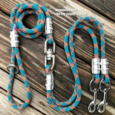 dog coupler with stainless steel clips, heavy duty swivel, and Leash. Handmade in USA with Climbing Rope. Built strong for the big dogs! Two Dogs, Large Dogs, Rope Dog Leash, Climbing Rope, 316 Stainless Steel, Italian Greyhound, Kind Words, Gadgets, Strong