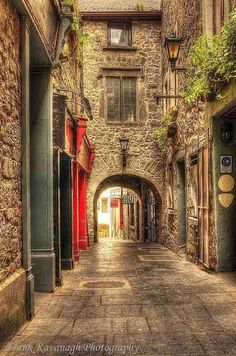 Butter Slip, a narrow and dark walkway connecting High St with St Kieran's St (previously called Low Lane) is the most picturesque of Kilkenny's many narrow medieval corridors. It was built in 1616 and once flanked with the stalls of butter vendors.