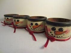 Rustic Snowman Napkin Rings 4 Wood Hand by PunkinsandSweetpeas, $12.00
