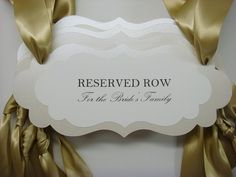 Reserved wedding signage ceremony seating pew or chair signs to reserve seating for the Bride and Grooms Family during your wedding ceremony. Prepared for you in colors to coordinate with your wedding color palette. All of my card stock color are available. Please select your colors from my color chart within the photos. Wording: This listing is for 1 sign. $9.00 each  In the photos Im showing you the wording: Reserved Row for the Brides Family, or Reserved Row for the Grooms Family. Make…