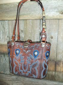 blue....612-11 Brown  twisted x cowboy boot purse with blue stitching