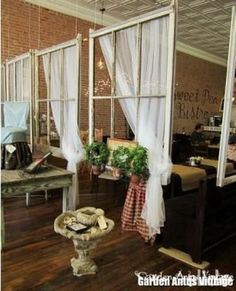 using old windows as room dividers