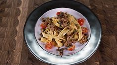 Creamy Fettuccine with Spicy Sausage  and  Cherry Tomatoes: Michael Symon