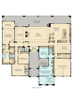 """4820 Next Gen by Lennar New Home Plan in Griffin Ranch: Pimlico by Lennar I love the """"In-Law"""" suite, that's so smart. New House Plans, Dream House Plans, House Floor Plans, My Dream Home, Plan Ville, Courtyard House Plans, Sims House, In Law Suite, House Layouts"""
