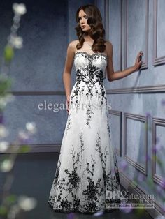 Wholesale sweetheart black embroidery accented a line black and white wedding dress WD1346, Free shipping, $171.36-188.16/Piece | DHgate
