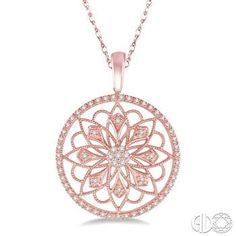 1/5 Ctw Round Cut Diamond Circle Flower Pendant in 10K Pink Gold with Chain M.A. Laurie Jewelers Necklaces