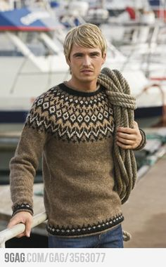 Knit sweaters and heavy rope  (@Leedle @Katie does this look like dad with a wig?)