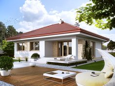 Home Discover Projekt domu MT Kiwi 2 CE - DOM - gotowy koszt budowy Home Building Design, Home Design Plans, Building A House, Modern Bungalow House, Modern House Plans, Two Bedroom House Design, One Level House Plans, Small Villa, Indian Home Design