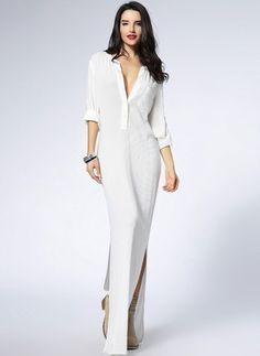 Повседневное платье из хлопока цвета сплошного с рукавами 1029095/1029095 (1029095) @ floryday.com