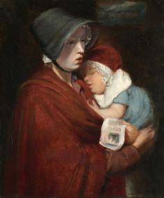 """""""Street Singer and Child"""" by John Opie (18th century) at the Cleveland Museum of Art, Cleveland - From the curators' comments: """"Street singers were often sellers of goods. By focusing the composition tightly on the woman and not including any wares, Opie makes the viewer recognize her humanity; moreover, he emphasizes the connection between mother and child. The singer is working to feed her baby, evoking empathy sympathy from the viewer."""""""