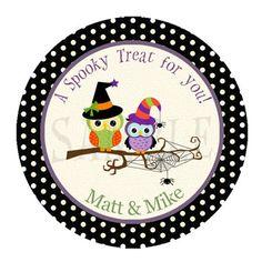 Halloween label - halloween owl cupcake topper - owl halloween sticker - hallowen party - purple halloween printable - owl halloween