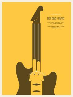 BEST COAST / WAVVES by Jason Munn 2 Color Screen Print 18 x 24 Inches 2011 $30.00