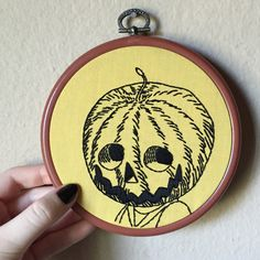 Pumpkin head man hand embroidery in vintage 5 inch hoop frame, halloween wall art by MoonriseWhims on Etsy https://www.etsy.com/listing/246601985/pumpkin-head-man-hand-embroidery-in