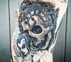 Time Skull tattoo by Mike Devries
