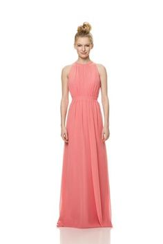 High neck; self strap; layer of sheer chiffon, with sweetheart bust flat waist