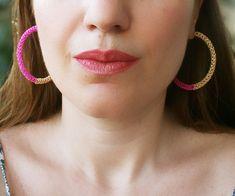 Large hoop earrings, wire crochet, gold, fuschia, pink, handmade earrings, color block, colorful jewelry, big hoops, crocheted, statement #handmade #earrings #etsy #gift