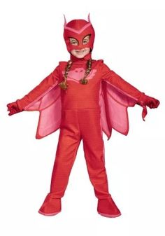 It's the right time to fight crime in a PJ Masks Owlette Costume for girls. This Owlette Costume includes a red jumpsuit, a cape, and an Owlette mask. Halloween Costumes For Girls, Disney Costumes, Halloween Fancy Dress, Girl Costumes, Costumes Kids, Costume Halloween, Costume Ideas, Trendy Halloween, Pumpkin Costume