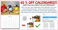 SUPER SALE! 60% DISCOUNTS on our bird calendars, including those that you like to customize with your own photos or drawings! Hurry! Limited time only! Create one now here: http://www.zazzle.com/petopet/products?dp=252635460664436350&rf=238983395575595838 #birds #parrots #pets #2016calendar #zazzle #budgie #cockatiel #lovebirds #conure #cockatoo #calendarsale #birdlovers