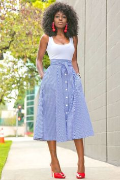 White Bodysuit + Gingham Midi Skirt