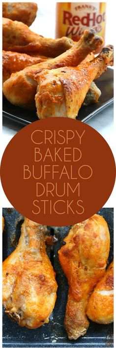 titled photo collage - Crispy Baked Buffalo Drumsticks