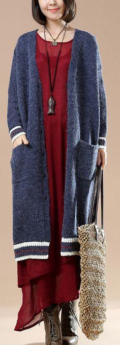 Navy warm sweater cardigans plus size sweater coats