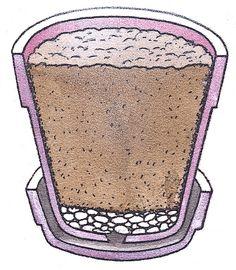 Faça uma camada de pedras pequenas para cobrir o furo de drenagem no vaso.