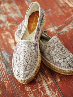 love <3 the crochet on these neutral boho shoes. Free People Crochet Galaxy Espadrille