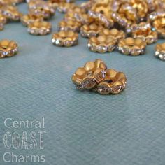 New at Central Coast Charms!!! ~ 10 mm Raw Brass Czech Crystal Rhinestone Rondelle Spacer Bead - 16 pcs - Wavy Edge - Vintage Shabby Style
