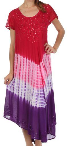 Sakkas Multi Color Tie Dye Cap Sleeve Caftan Dress / Cover Up