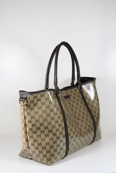 #Gucci Handbags Large Beige Crystal (Coating) and Brown Leather #Women Handbags