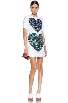 Stella McCartney|Heart Print Cotton-Blend Dress in Pure White
